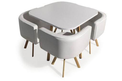 table avec chaises encastrables scandinaves blanc. Black Bedroom Furniture Sets. Home Design Ideas