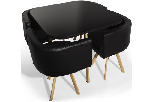 Table Avec Chaises Encastrables Scandinaves Noir COPENHAGUE - Table design