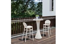 Table Bar Et 2 Chaises De Bar Blanches CREATEUR - Table de bar design