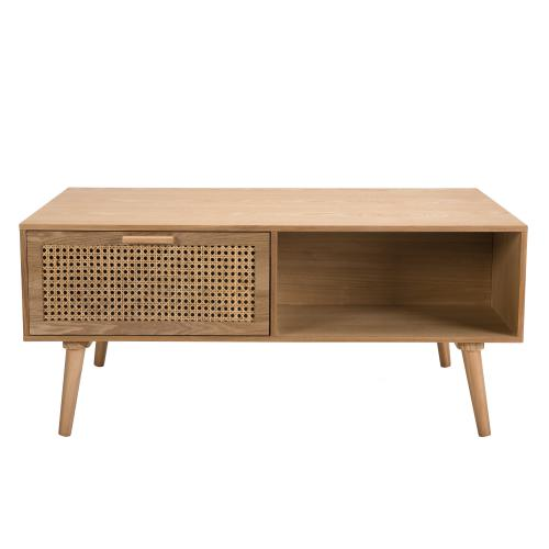 Table basse 2 tiroirs cannage 1 niche - RODRIGUE - Table basse design