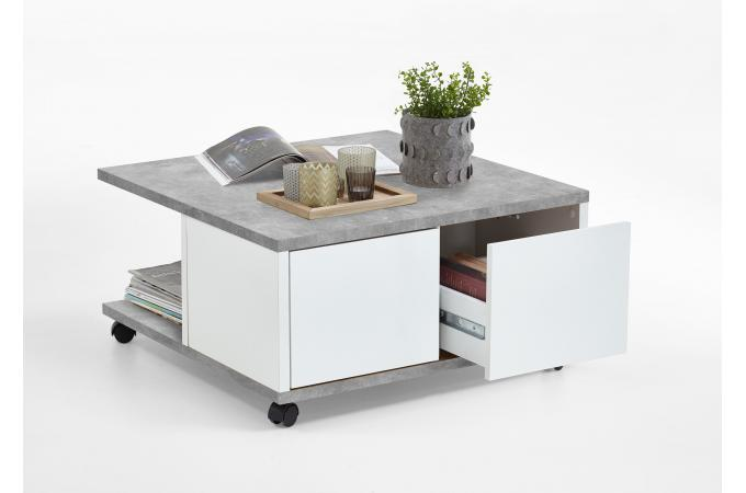 Table Basse A Roulettes Gris Beton Blanc Brillant Groove Table