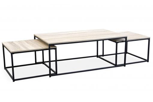 Table Basse Beige et 2 Tables Gigognes Structure en Fer Noir CARO - Table basse design