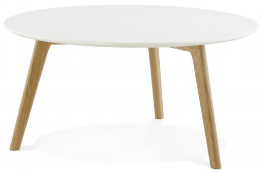 Table basse blanche ronde scandinave ELSA