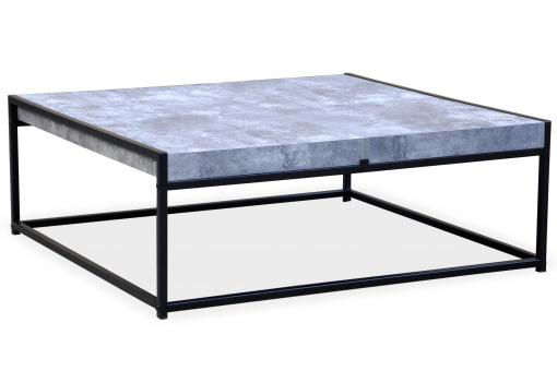 Table Basse Bleue avec 4 Rangements Structure en Fer Noir CARO - Table basse design