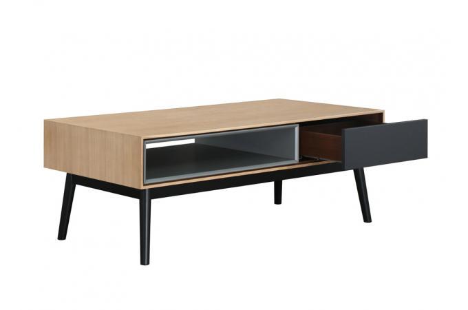 Table basse bois noir 1 niche 1 tiroir hourn table basse - Table basse noir bois ...