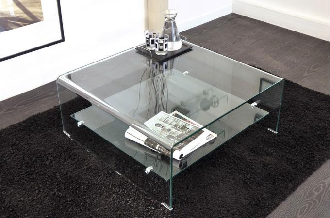 Table basse carrée en verre transparent OTTA - Table Basse Pas Cher d0f686f9941c