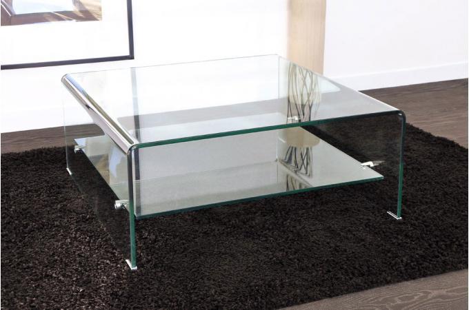 table basse carr e en verre transparent otta table basse pas cher. Black Bedroom Furniture Sets. Home Design Ideas