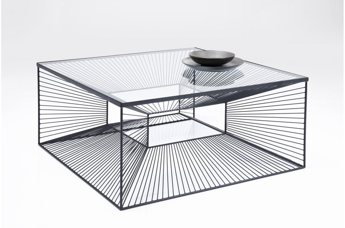 Table basse Design 5x5cm en Verre et Acier Trempé Noir RAIGNE