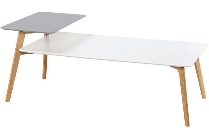 table basse double plateau gris et blanc batya table. Black Bedroom Furniture Sets. Home Design Ideas