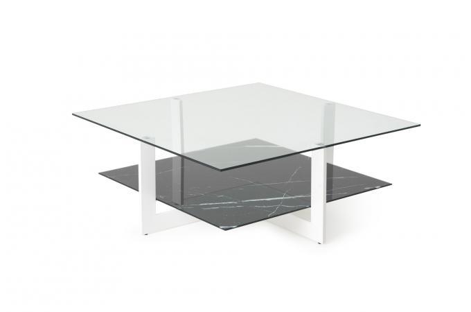 Table Basse Double Plateau Verre Noir Lovemedo Table Basse Pas Cher