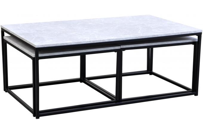 table basse effet marbre et 2 tables gigognes structure en. Black Bedroom Furniture Sets. Home Design Ideas