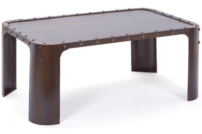 table basse en métal effet vieilli lena - table basse pas cher
