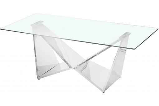 Table basse en Verre Transparent et Pieds Argent AIDEN - Table basse design
