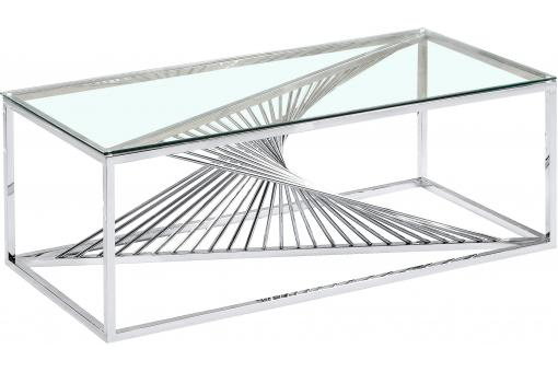 Table basse en Verre Transparent et Pieds Argent DARWIN - Table basse design