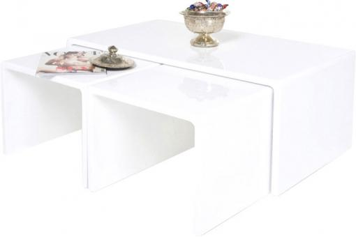 KARE DESIGN - Table basse gigogne laquée blanche Roxane