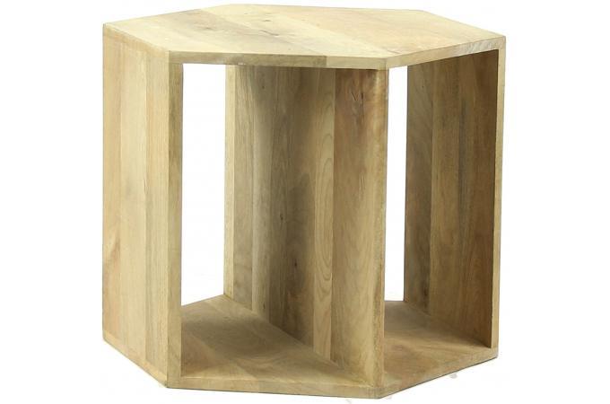 table basse hexagonale pomax en bois de manguier 50x50x40 graphik table basse pas cher. Black Bedroom Furniture Sets. Home Design Ideas