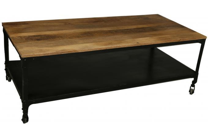 table basse industrielle roulettes en bois movea table. Black Bedroom Furniture Sets. Home Design Ideas