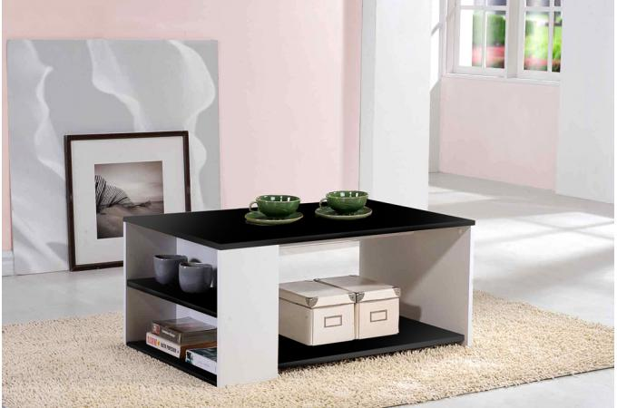 Table basse noir et blanc galeane table basse pas cher for Table noir et blanc