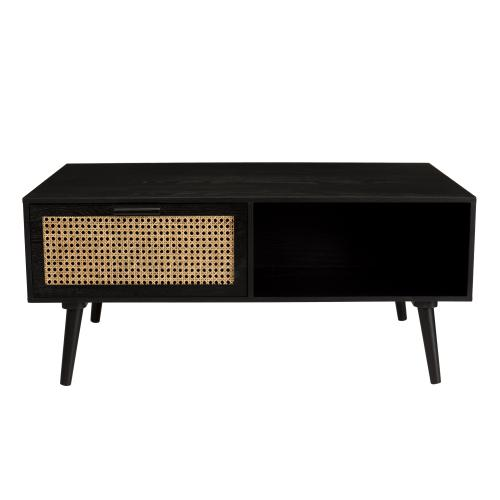 Table basse noire 2 tiroirs cannage 1 niche - MIGUEL - Table basse design