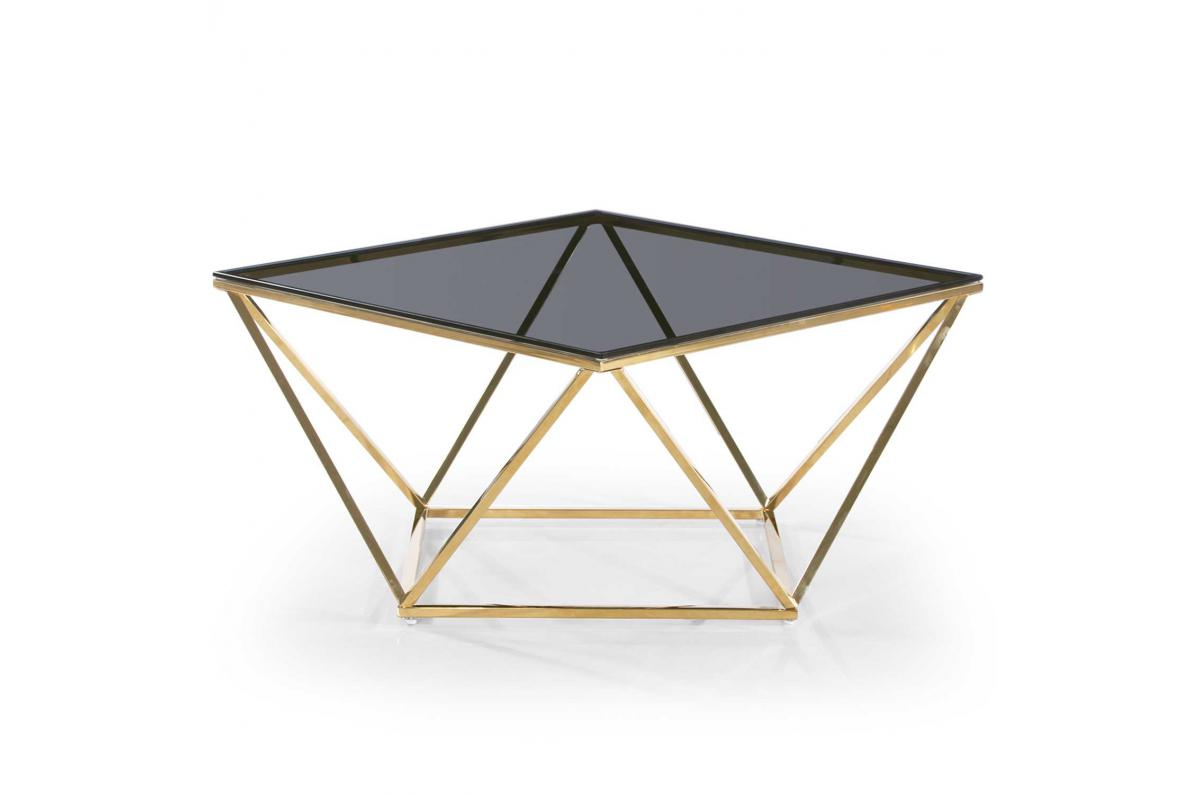 Table Basse Or Plateau Verre Fume Tamba Table Basse Pas Cher