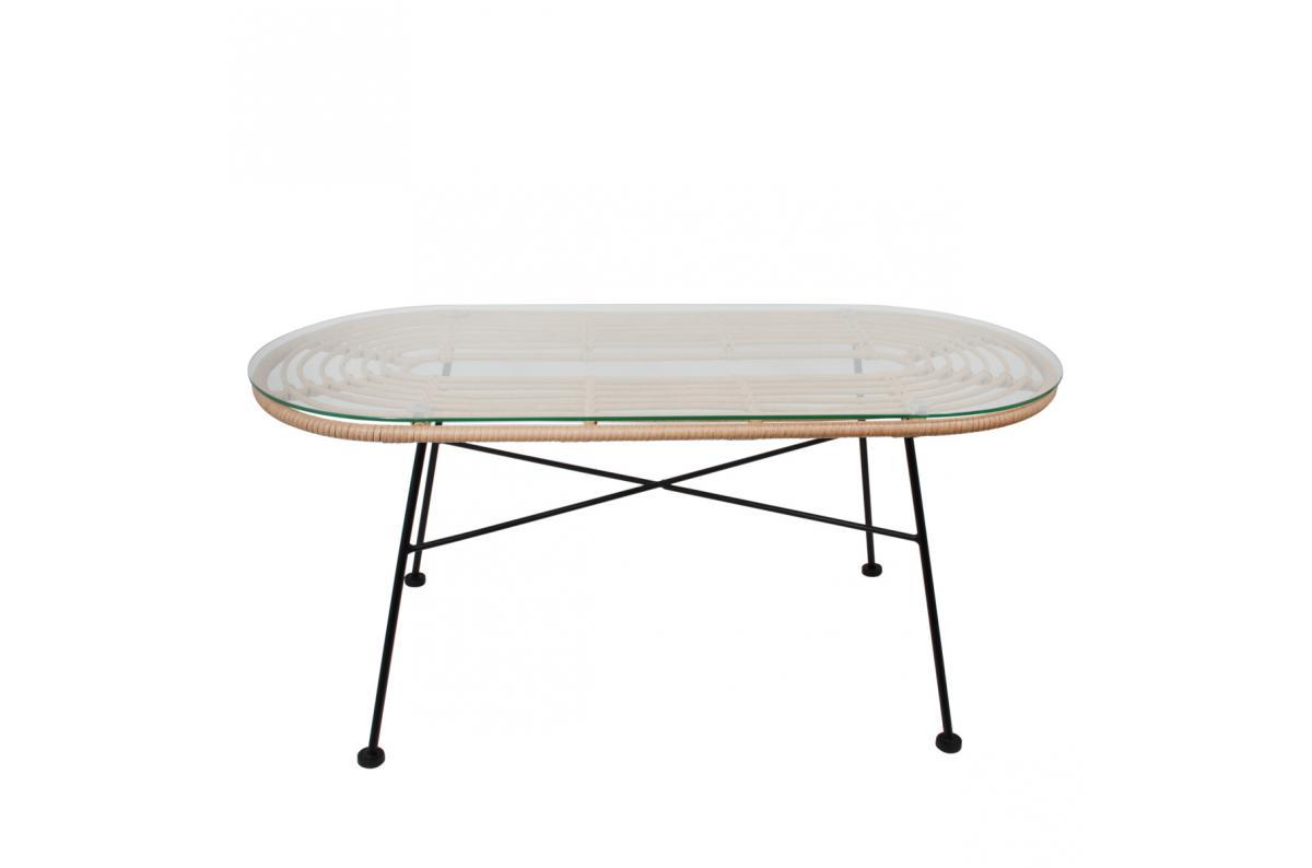 Table Basse Ovale en Verre et Rotin et Piétement Métal Noir PAMANA Plus  d\'infos