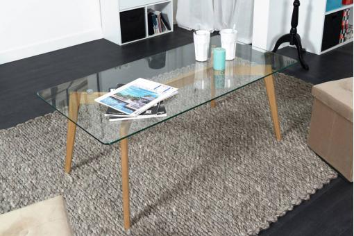Table basse plateau verre transparent KLARK
