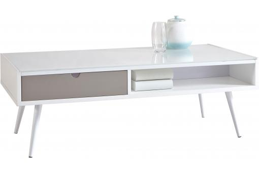Table basse rectangulaire grise blanche SAMOZI
