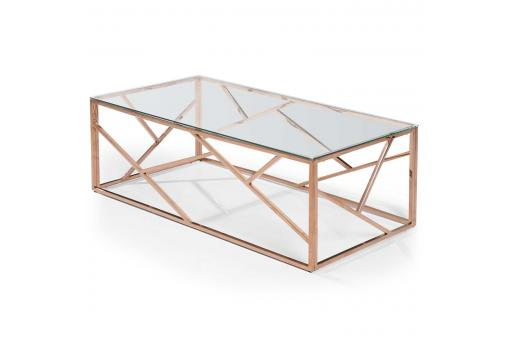 Table Basse Rectangulaire Or Rose Verre Transparent TAMBA - Table basse design