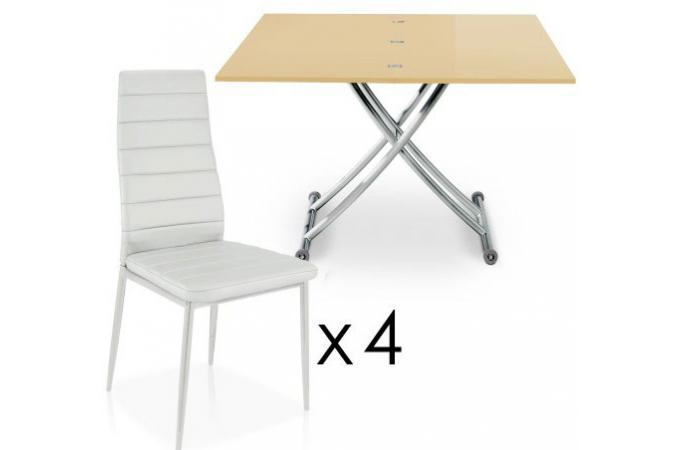 table basse relevable rallonges beige 4 chaises blanche bella chaise design pas cher. Black Bedroom Furniture Sets. Home Design Ideas