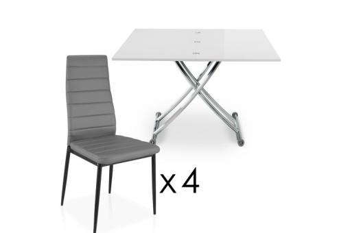 Table Basse Relevable À Rallonges Blanche + 4 Chaises Grise BELLA