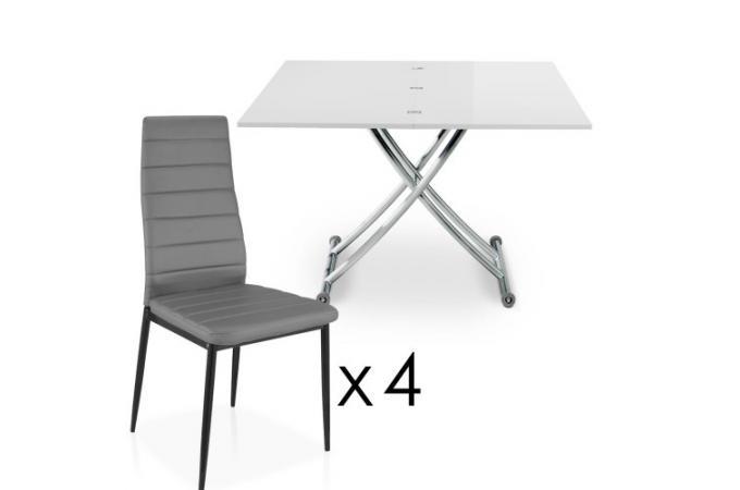 Table Basse Relevable A Rallonges Blanche 4 Chaises Grise Bella