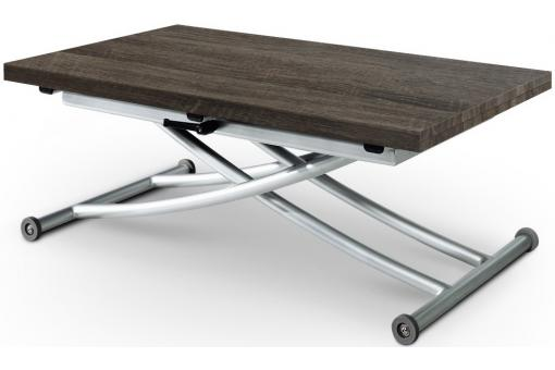 Table Basse Relevable À Rallonges Bois OLDIE + 4 Chaises Taupe BELLA