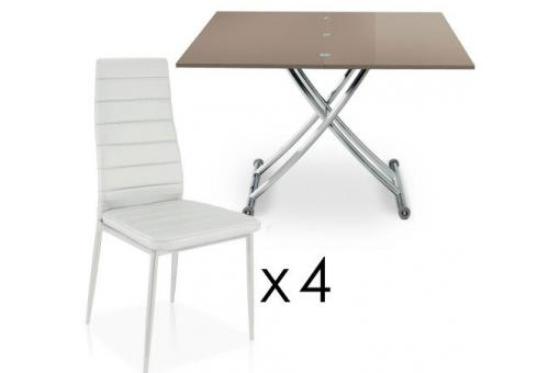 Table Basse Relevable À Rallonges Taupe + 4 Chaises Blanche BELLA