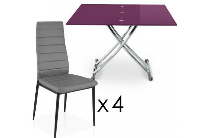 table basse relevable rallonges violet 4 chaises grise bella chaise design pas cher. Black Bedroom Furniture Sets. Home Design Ideas