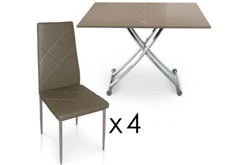 Table Basse Relevable à Rallonges Taupe + 4 chaises Taupe BELLA