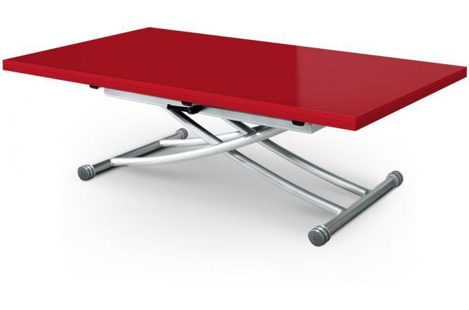 Table basse relevable extensible rouge laqu e kali table basse pas cher - Table basse relevable rouge ...