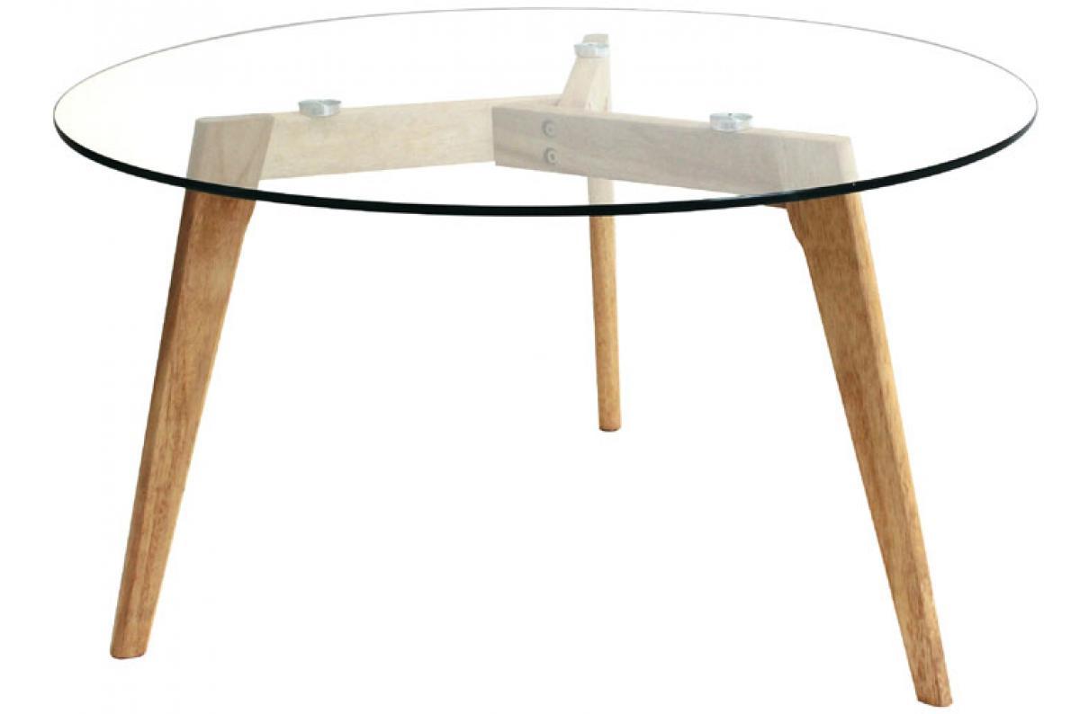 Table Basse Ronde D80cm En Verre Pietement En Bois Beige Maca