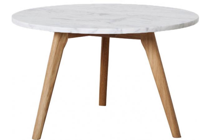 table basse ronde en marbre blanc et bois scandinave 50xh45 cm firdo table basse pas cher. Black Bedroom Furniture Sets. Home Design Ideas