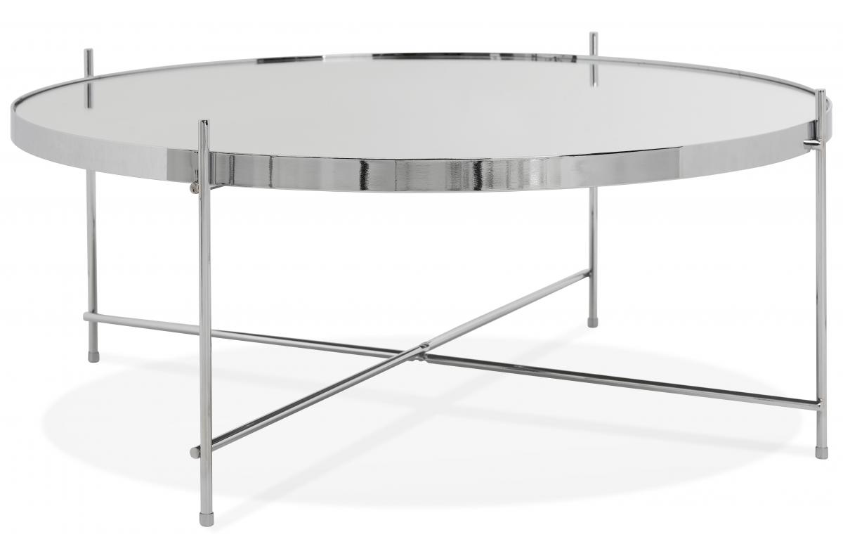 Table Basse Ronde Grande En Verre Chrome Et Pietement En Metal