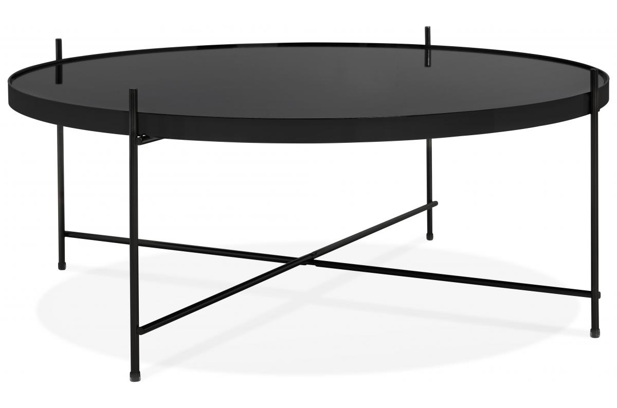 Table Basse Ronde Grande En Verre Noir Et Pietement En Metal Wally