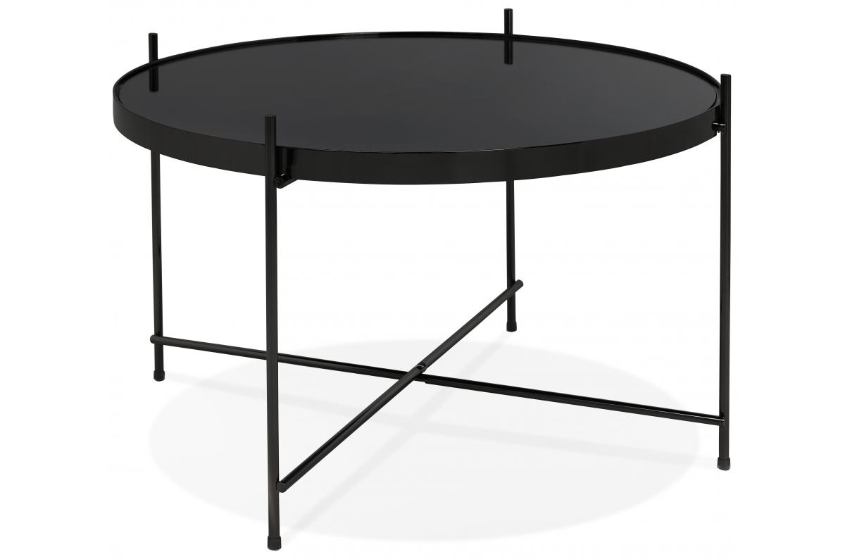Table Basse Ronde Petite En Verre Noir Et Pietement En Metal Wally