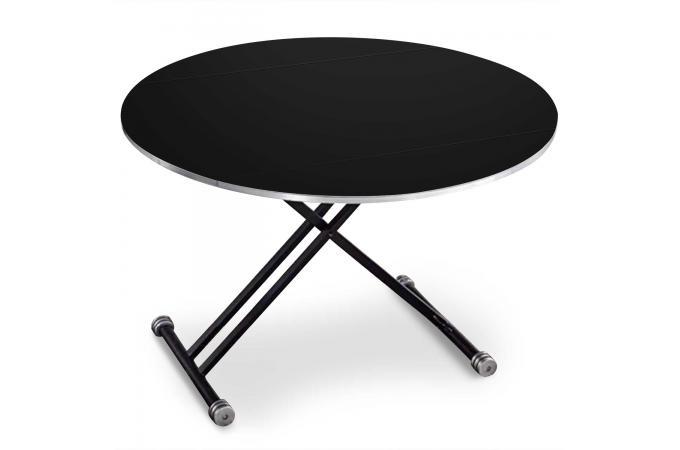 Table basse ronde r glable en hauteur noir mat bargny Table basse ronde relevable