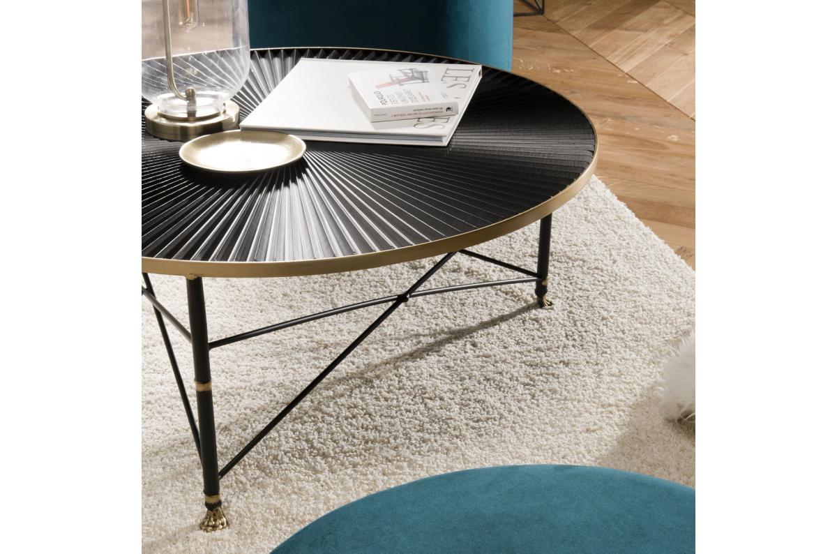 Table Basse Ronde Tod 91x91cm Ceinture Doree Pieds Metal Noir Table Basse Pas Cher