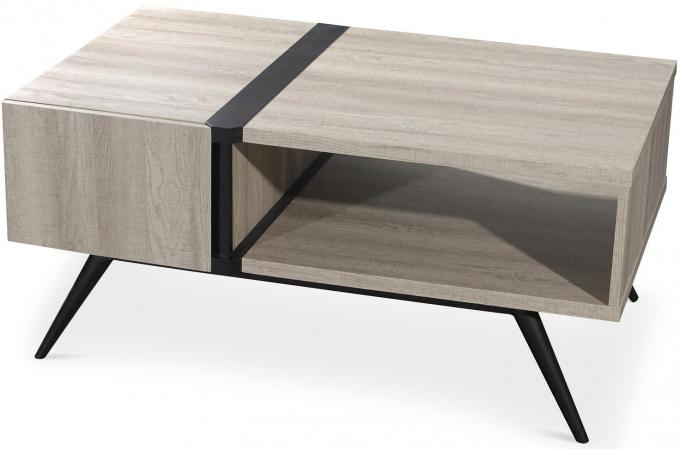 table basse scandinave bois clair et noir roni table. Black Bedroom Furniture Sets. Home Design Ideas