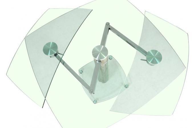 Table Carrée avec allonges plateau verre transparent LINDA  Table à