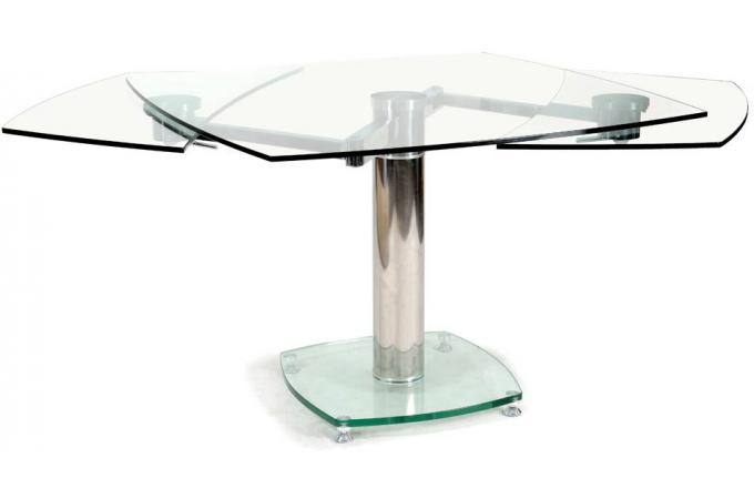 Table carr e avec allonges plateau verre transparent linda for Table a manger avec rallonge pas cher