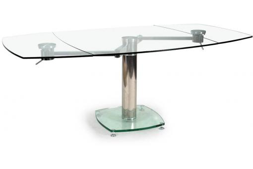 Table Carrée avec allonges plateau verre transparent LINDA
