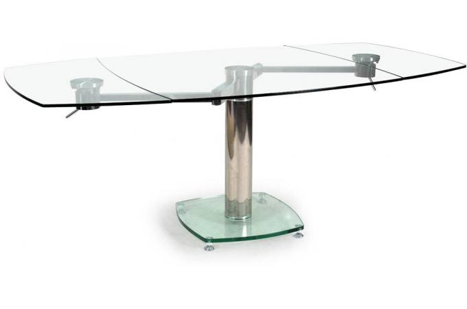 Table carr e avec allonges plateau verre transparent linda - Table a manger carree pas cher ...