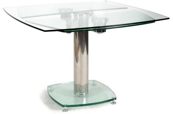 Table carr e avec allonges plateau verre transparent linda for Petite table a manger avec rallonge
