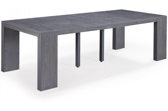 table console extensible bois gris 4 rallonges xl table console pas cher. Black Bedroom Furniture Sets. Home Design Ideas